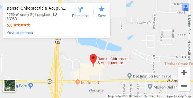 Louisburg KS Chiropractic Map
